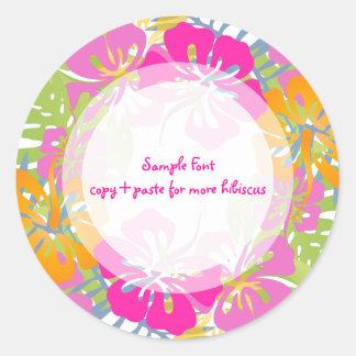 Color de fondo del hibisco lei/DIY de PixDezine Pegatina Redonda