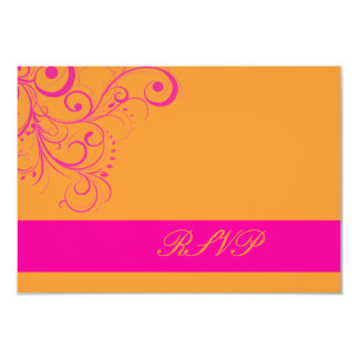 """¡Color de fondo del rosa Swirls/DIY del rsvp de Invitación 3.5"""" X 5"""""""
