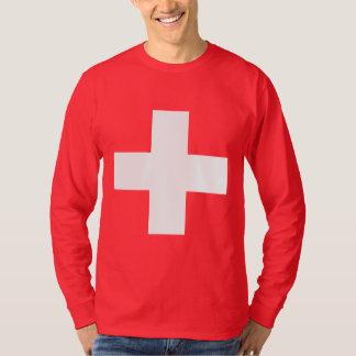 Color de fondo Editable, la bandera de Suiza Remera