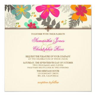 """Color de fondo hawaiano de PixDezines jungle/DIY Invitación 5.25"""" X 5.25"""""""