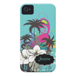 Color de fondo retro de PixDezines Aloha/DIY iPhone 4 Case-Mate Carcasas