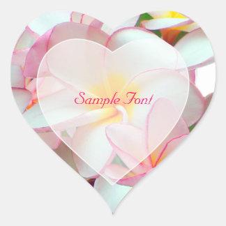 Color de fondo rosado de PixDezine plumeria DIY Calcomanía De Corazón