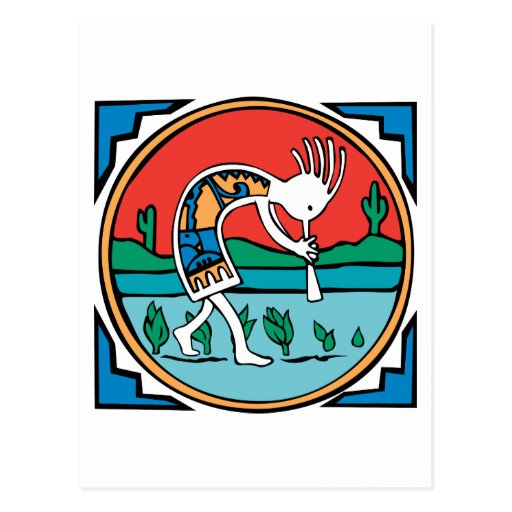Color de Kokopelli Tarjetas Postales