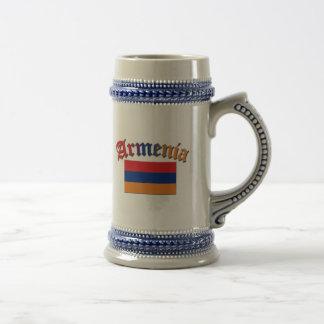 Color de la bandera 3 de Armenia Jarra De Cerveza