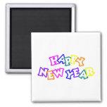 Color de la Feliz Año Nuevo Imán Cuadrado