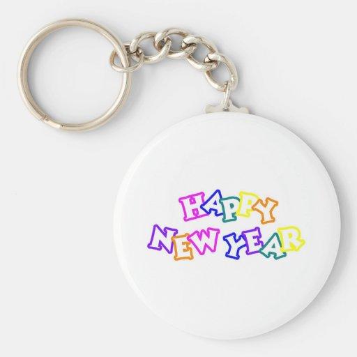 Color de la Feliz Año Nuevo Llavero Redondo Tipo Pin