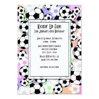 Color de la manía del fútbol invitación 12,7 x 17,8 cm