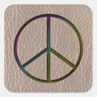 Color de la paz de la Cuero-Mirada suave Pegatina Cuadrada