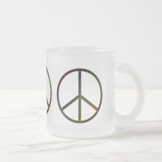 Color de la paz de la Cuero-Mirada Taza