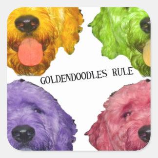 Color de la regla 4 de Goldendoodles Pegatina Cuadrada