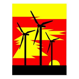 Color de la salida del sol del molino de viento -  tarjeta postal