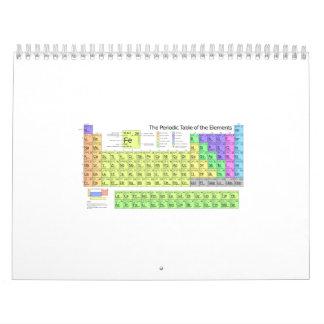 Color de la tabla periódica calendarios de pared
