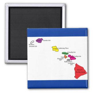Color de las islas hawaianas de sus islas imán cuadrado