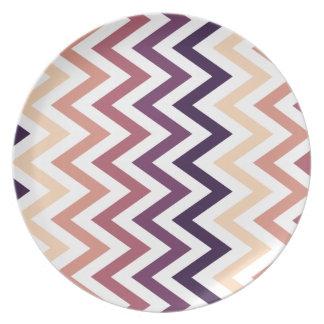 Color de los diseños geométricos de Brown Borgoña Platos Para Fiestas