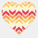 Color de los diseños geométricos de Chevron del Pegatina En Forma De Corazón