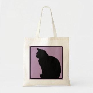 Color de malva del gato negro bolsa tela barata