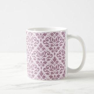 Color de malva del modelo del damasco de la voluta taza