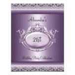 Color de malva púrpura del 21ro de cumpleaños saté invitaciones personales