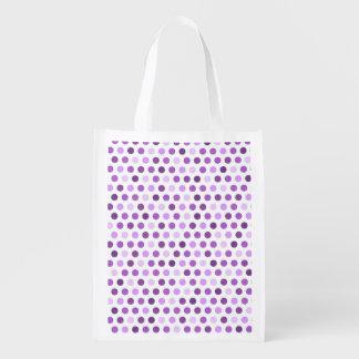 Color de malva, púrpura violeta, lunares blancos bolsa de la compra