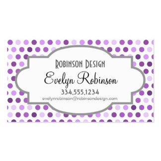 Color de malva, púrpura violeta, lunares blancos tarjetas de visita