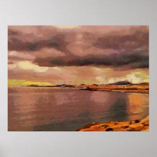 Color de oro de la puesta del sol póster