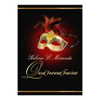 Color de PixDezines Masquerade DIY rojo de rubíes Invitaciones Personales