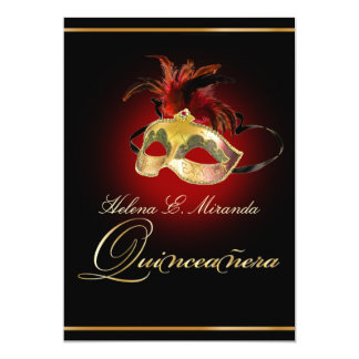 Color de PixDezines Masquerade/DIY/rojo de rubíes Invitación 12,7 X 17,8 Cm