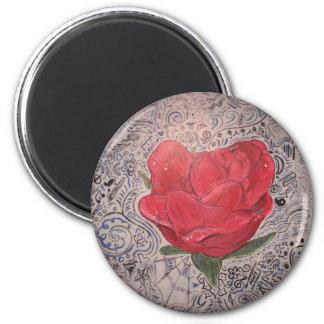color de rosa acabada imán redondo 5 cm