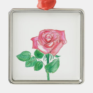 Color de rosa adorno navideño cuadrado de metal