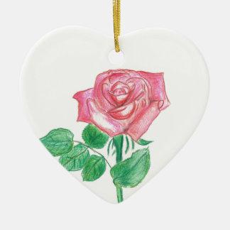 Color de rosa adorno navideño de cerámica en forma de corazón