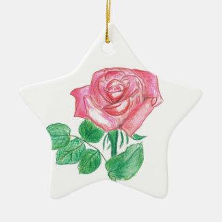 Color de rosa adorno navideño de cerámica en forma de estrella