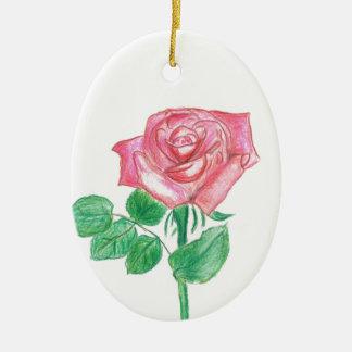 Color de rosa adorno navideño ovalado de cerámica