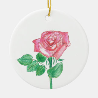 Color de rosa adorno navideño redondo de cerámica