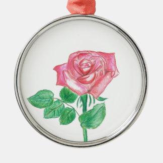 Color de rosa adorno navideño redondo de metal