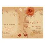 Color de rosa anaranjado en el programa del boda d tarjetas informativas