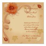 Color de rosa anaranjado en la invitación del boda