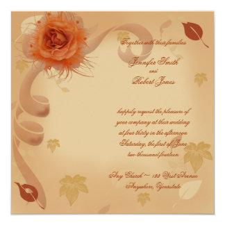 Color de rosa anaranjado en la invitación del boda invitación 13,3 cm x 13,3cm