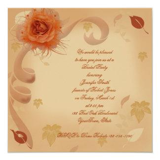 Color de rosa anaranjado en la invitación nupcial invitación 13,3 cm x 13,3cm