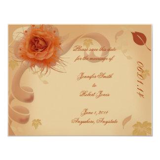 Color de rosa anaranjado en la reserva de la caída invitación 10,8 x 13,9 cm