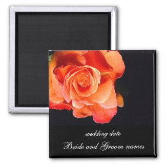 Color de rosa anaranjado oscuro iman de frigorífico