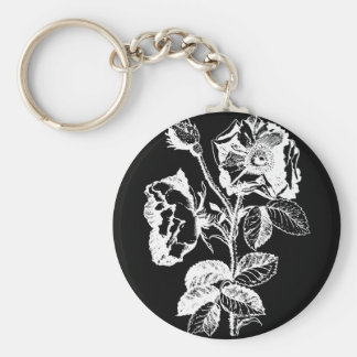 Color de rosa antiguo negro gótico llavero redondo tipo pin