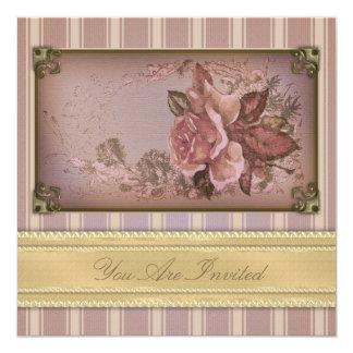 Color de rosa antiguo (rosa) invitaciones personalizada