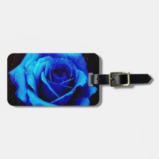 Color de rosa azul dramático etiqueta para maleta