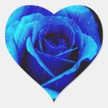 Color de rosa azul dramático pegatinas corazon