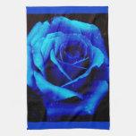 Color de rosa azul dramático toallas de mano