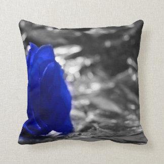 Color de rosa azul en fondo de la plata del lado i almohadas