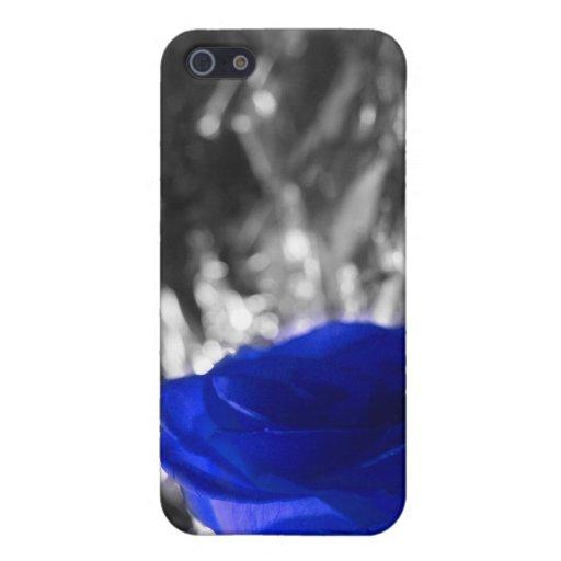 Color de rosa azul en fondo de la plata del lado i iPhone 5 cárcasas
