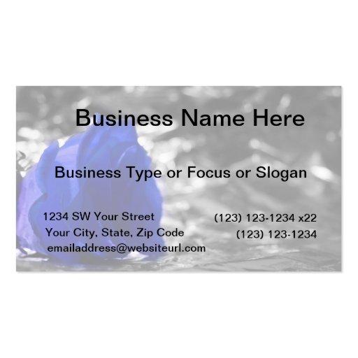 Color de rosa azul en fondo de la plata del lado i plantillas de tarjeta de negocio