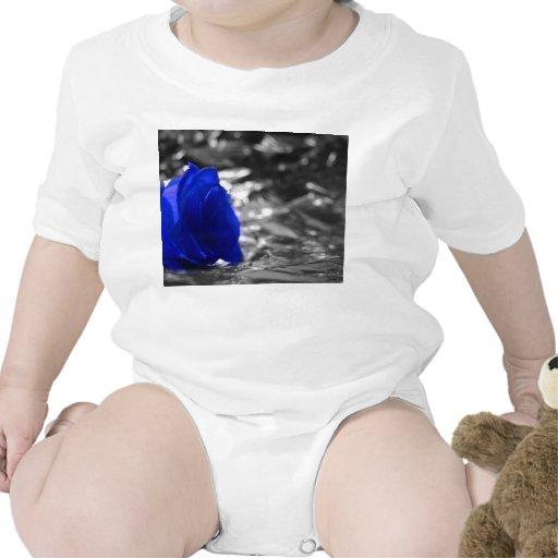 Color de rosa azul en fondo de la plata del lado traje de bebé