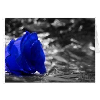Color de rosa azul en fondo de la plata del lado tarjeta pequeña